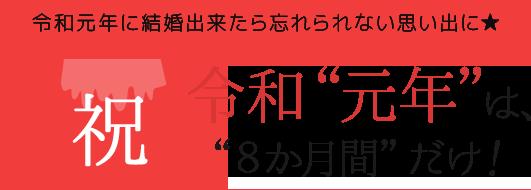 """【令和元年に結婚出来たら忘れられない思い出に★】祝 令和""""元年""""は、""""8か月間""""だけ!"""